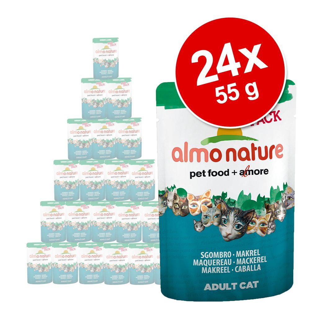 Lot Almo Nature Green Label Raw 24 x 55 g pour chat - cuisse de poulet