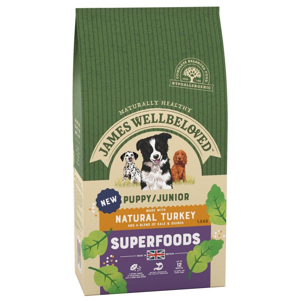 James Wellbeloved Puppy/Junior Superfoods - Turkey with Kale & Quinoa - 1.5kg