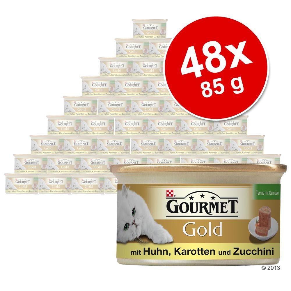 Pakiet Gourmet Gold Kawałki w Pasztecie, 48 x 85 g - Kurczak z marchewką i cukinią