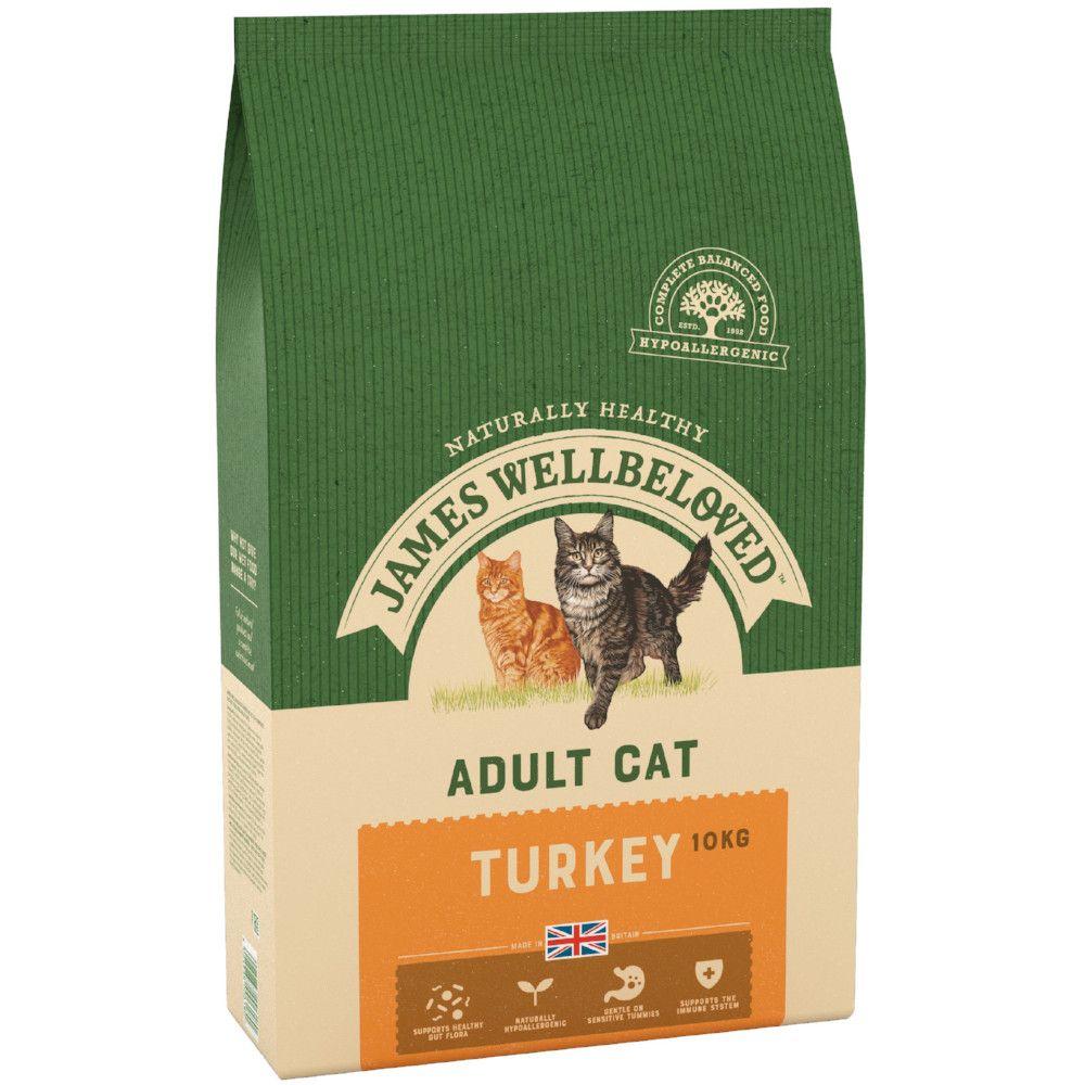 2x10kg Turkey Adult Dry Cat Food James Wellbeloved