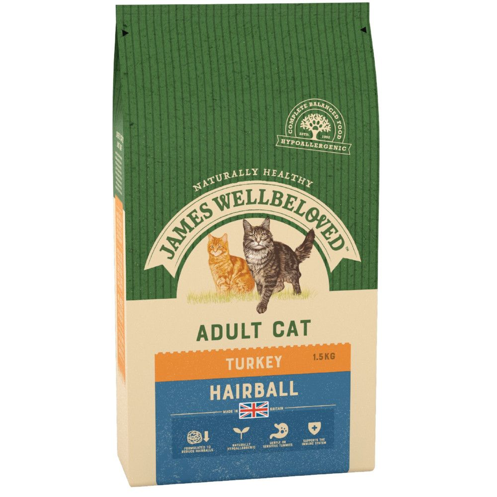 Turkey Hairball James Wellbeloved Dry Cat Food