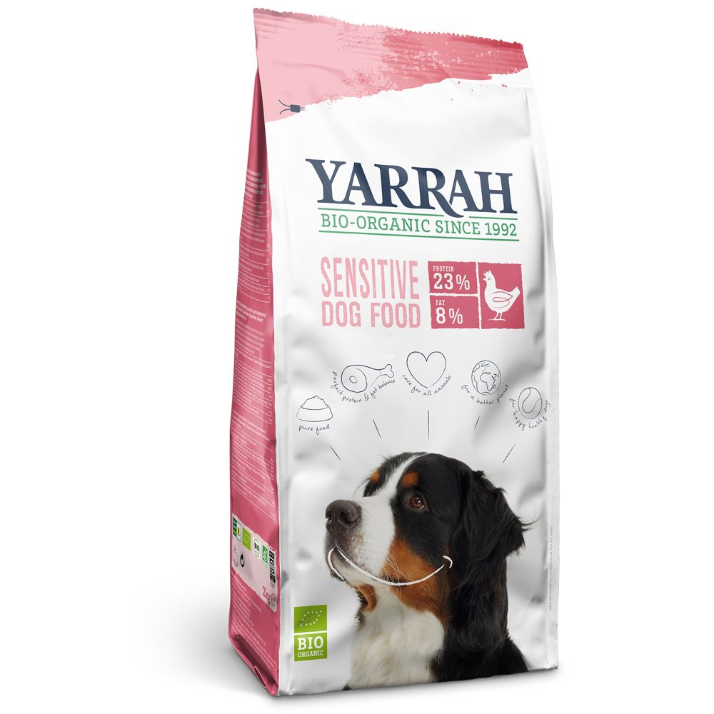 Yarrah Sensitive is certified organic, gluten free and friendly to the stomach, so that it is suited for all dogs with food allergies as well as for dogs with a se...