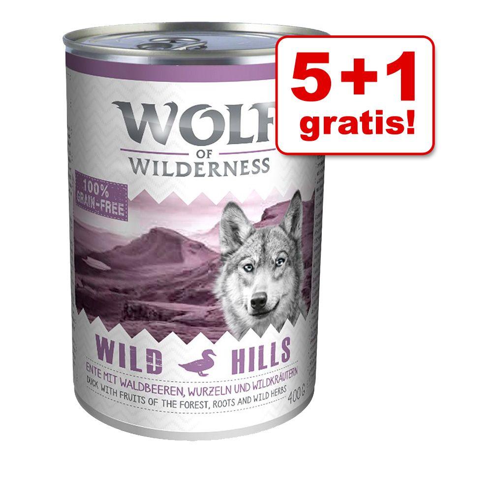 5 + 1 gratis! Wolf of Wilderness, 6 x 400 g - Oak Woods, dziczyzna