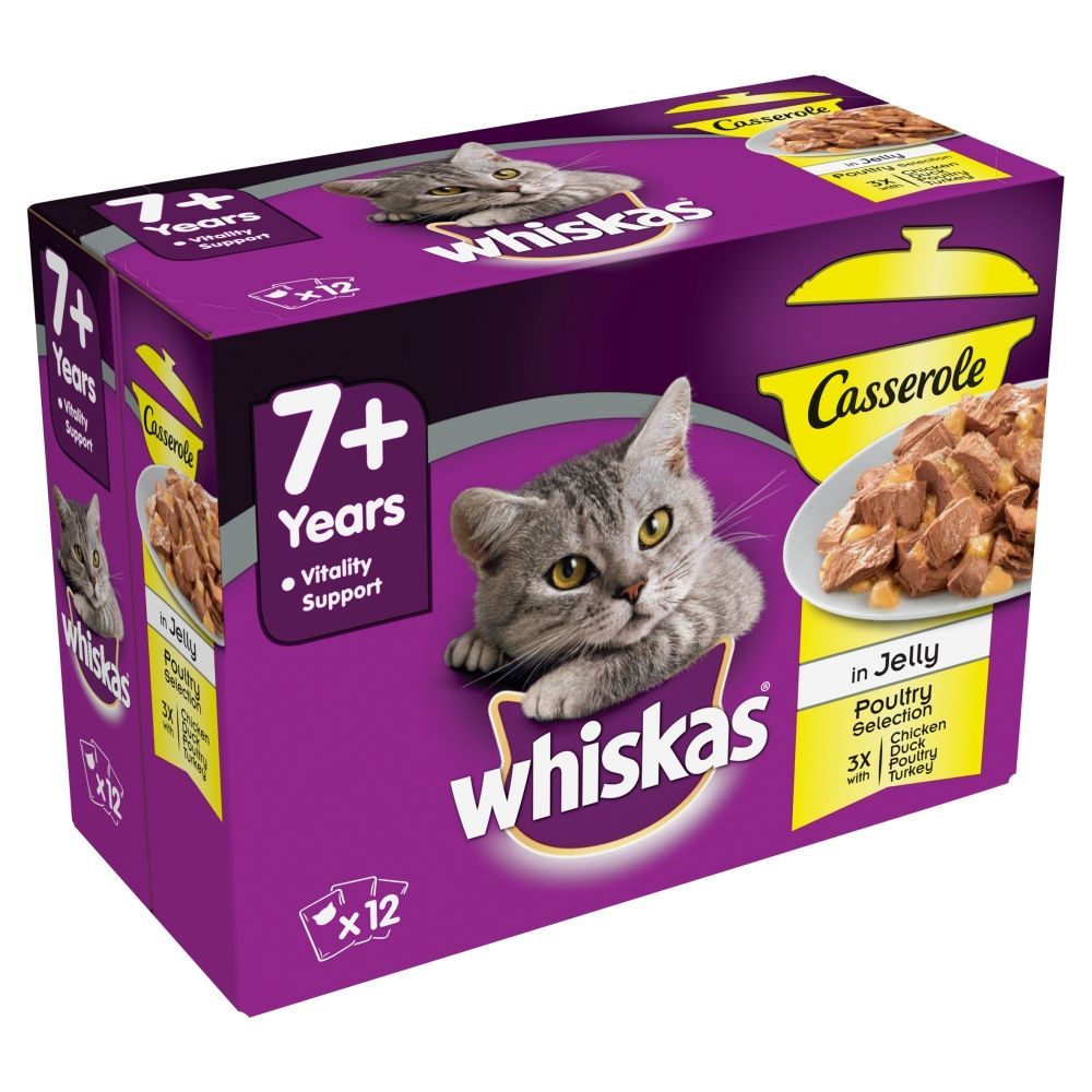 Casserole Poultry Selection in Jelly Senior 7+ Whiskas Wet Cat Food