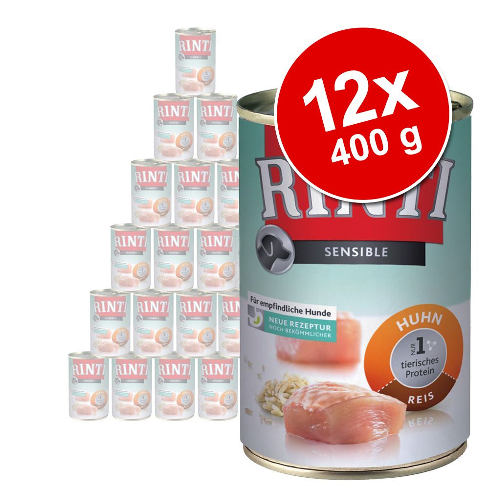 Ekonomipack: Rinti Sensible 12 x 400 g – Kyckling & ris