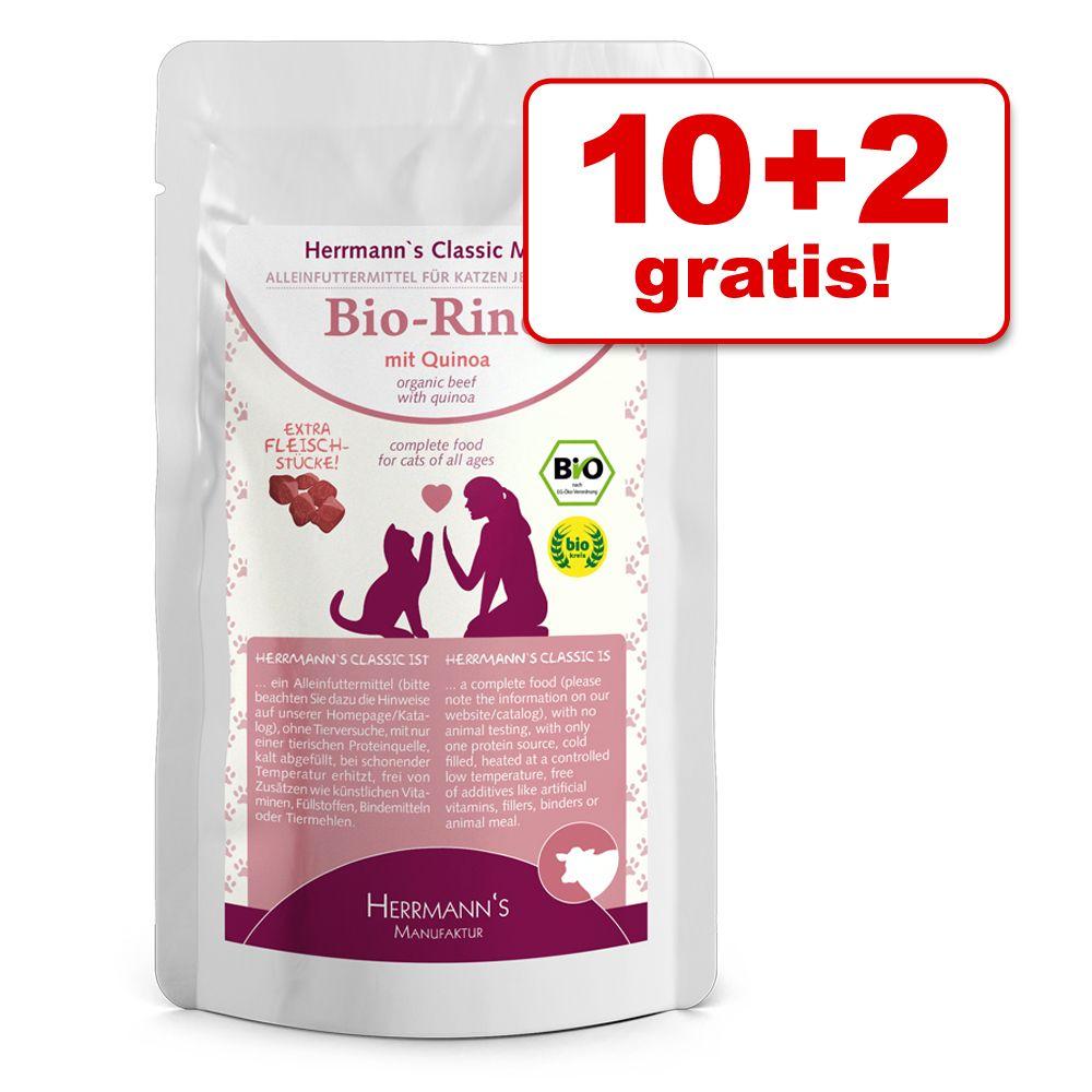 10 + 2 på köpet! 12 x 85 g Herrmanns Meny våtfoder - Ekologisk kyckling med kamut