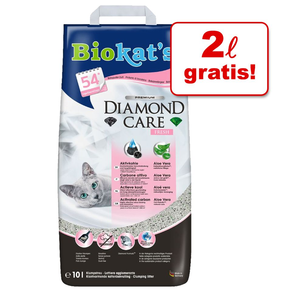 1,6 / 2 l gratis! 8 / 10 l Biokat´s DIAMOND CARE Katzenstreu - 10 l Fresh (2 l gratis)
