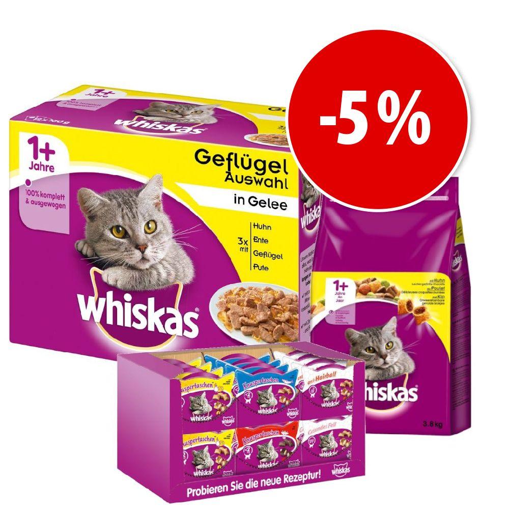 Whiskas torrfoder + våtfoder + snacks till sparpris! - 3,8 kg Adult Kyckling + 48 x 100 g Adult Fjäderfäurval i gelé + Snacks
