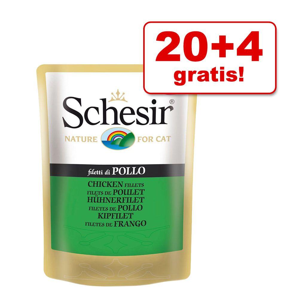 20 + 4 gratis! Schesir w galarecie, 24 x 100 g - Tuńczyk z kurczakiem i szynką