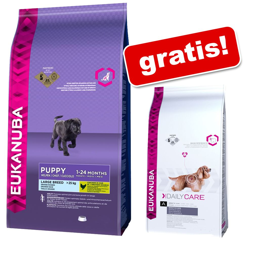Duże opakowanie Eukanuba + Eukanuba Daily Care Sensitive Skin, 2,3 kg gratis! - Adult Small Breed, kurczak, 7,5 kg