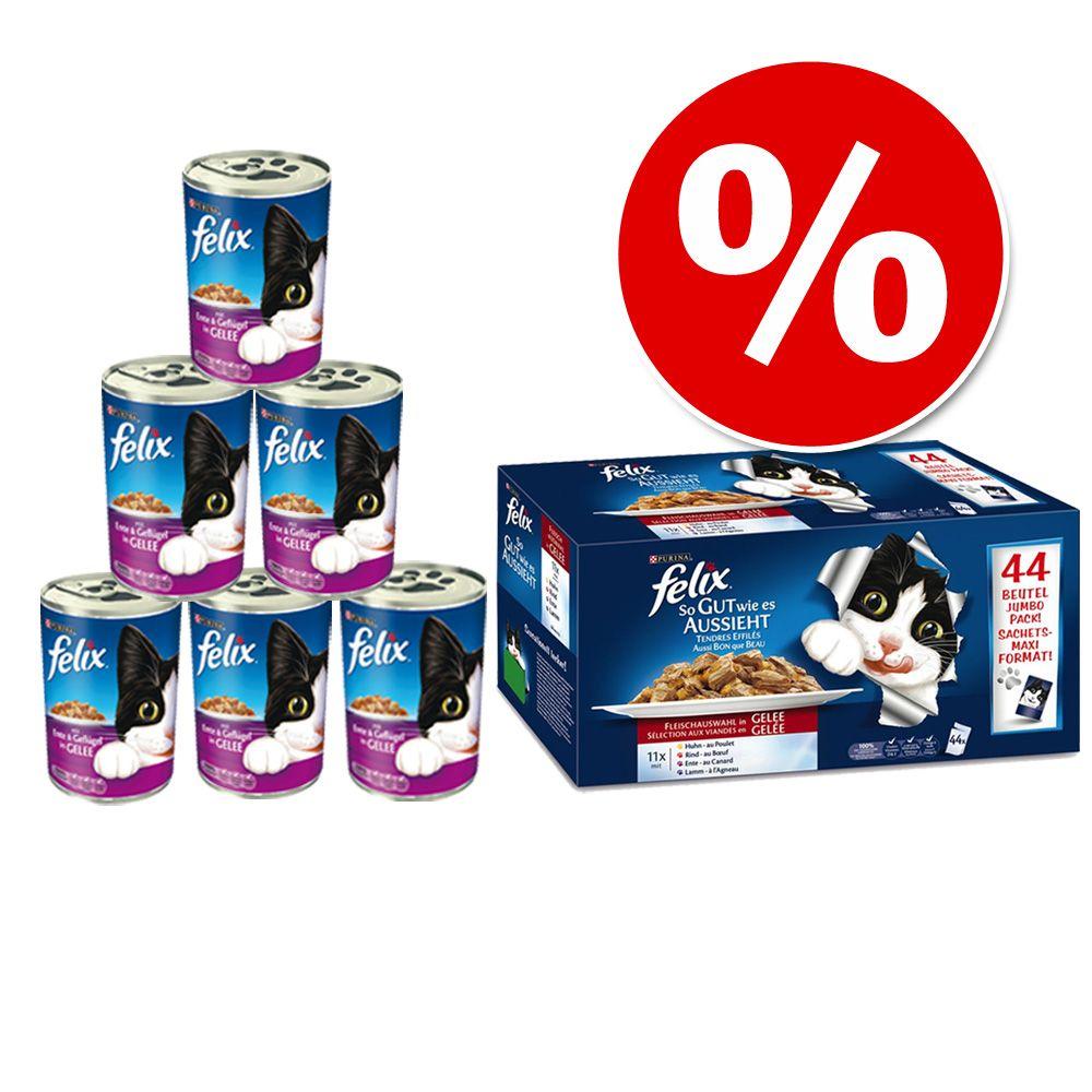 Pakiet 44 x 100 g Felix Fantastic + 6 x 400 g Felix Kąski w galarecie w super cenie! - Mięsno - rybne smaki + Łosoś z pstrągiem