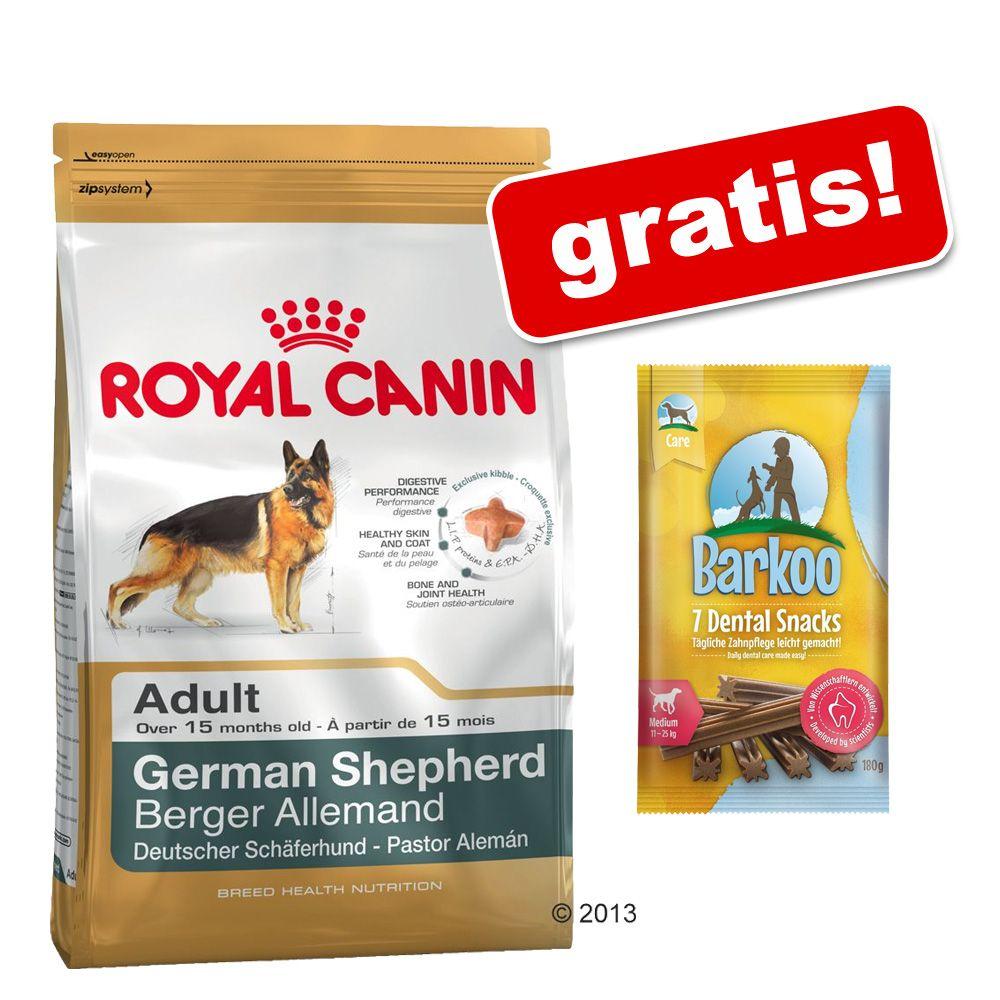 Duże opakowanie Royal Canin Breed + przysmak Barkoo Dental Snacks dla średnich psów, 180 g, gratis! - Boxer Adult, 12 kg