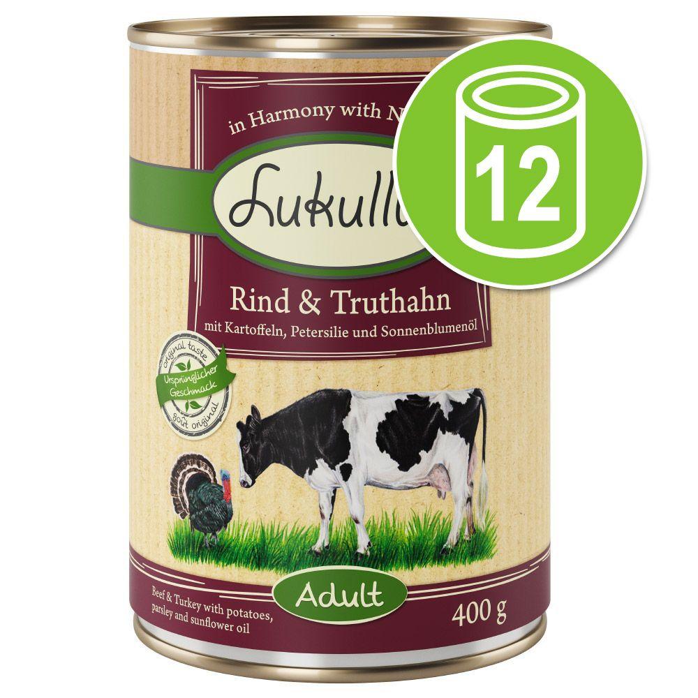 12x400g cœurs de dinde, oie Lukullus - Nourriture pour chien