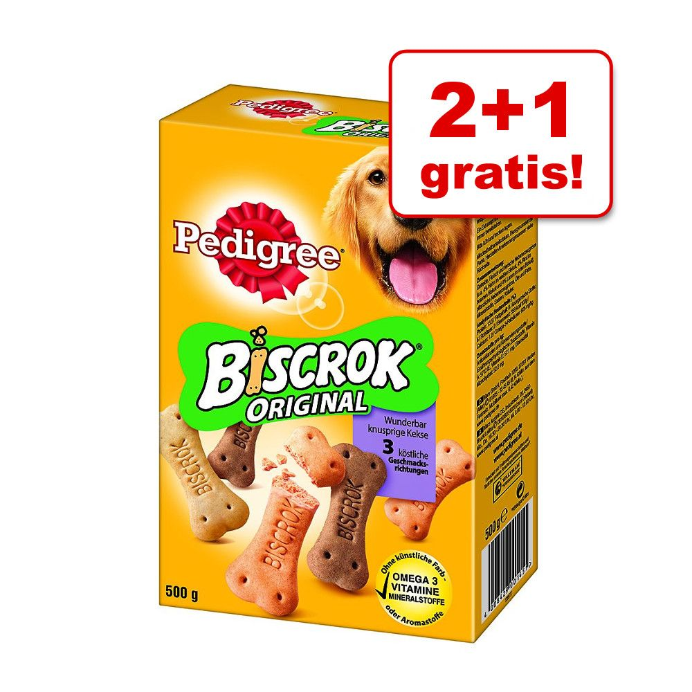 2 + 1 gratis! Pedigree Biscrok, 3 x 500 g - 3 x 500 g