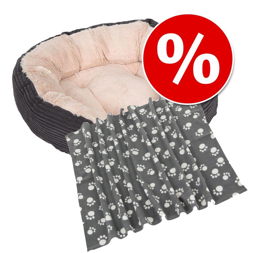 Sparpaket: Kuschelbett Cozy Cord + Fleecedecke Pawty - Größe S + Decke