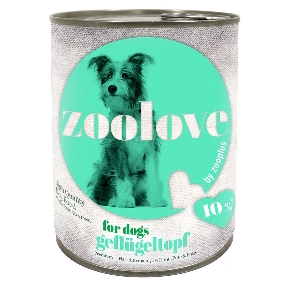 zoolove Wet Dog Food Saver Pack 24 x 800g - Trio di Carne