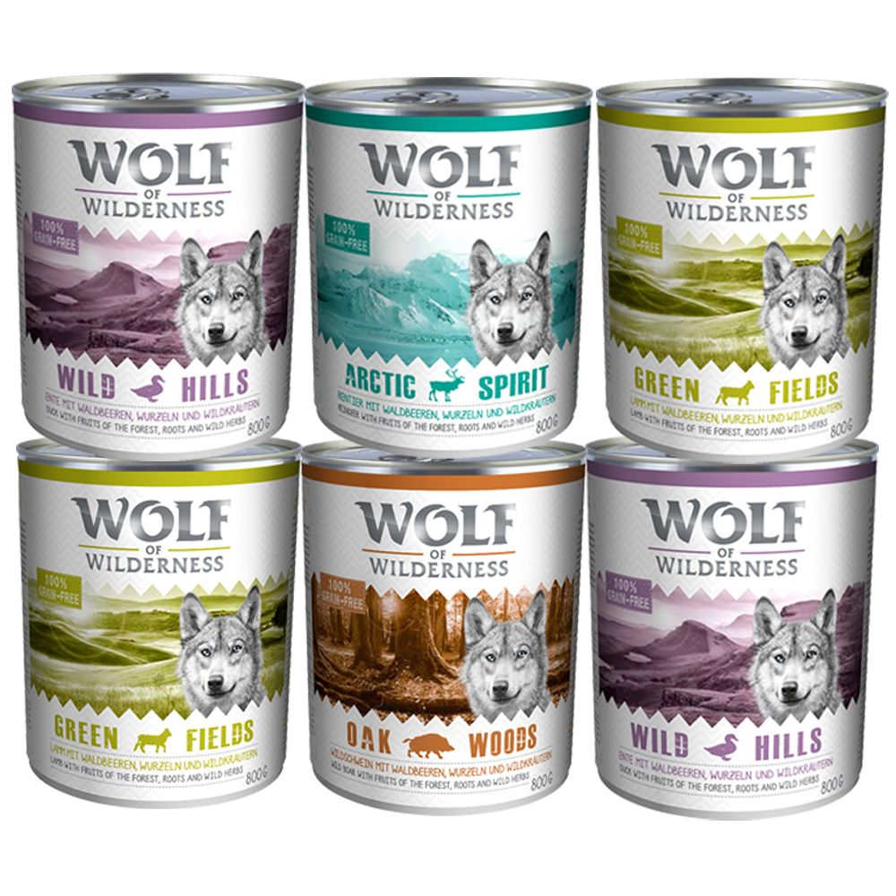 Wolf of Wilderness Adult Mixed Pack - 4 varieties - 6 x 400g Mixed Pack (4 varieties)