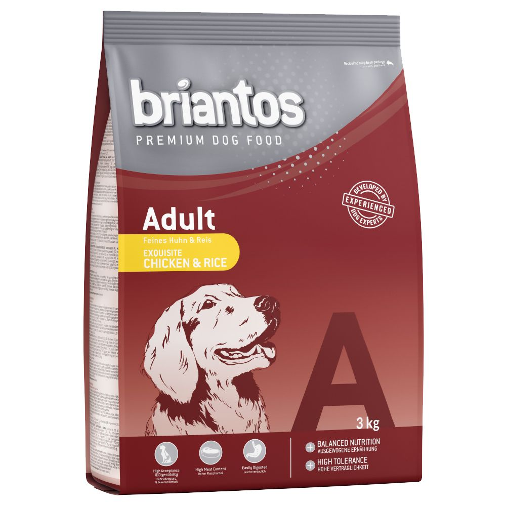 3kg Briantos Dry Dog Food + Barkoo Dental Snacks Free