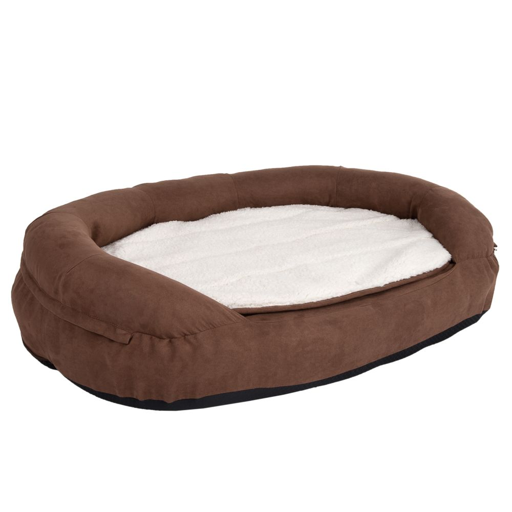 Oval Memory Foam Dog Bed - Brown - 100 x 65 x 24 cm (L x W x H)