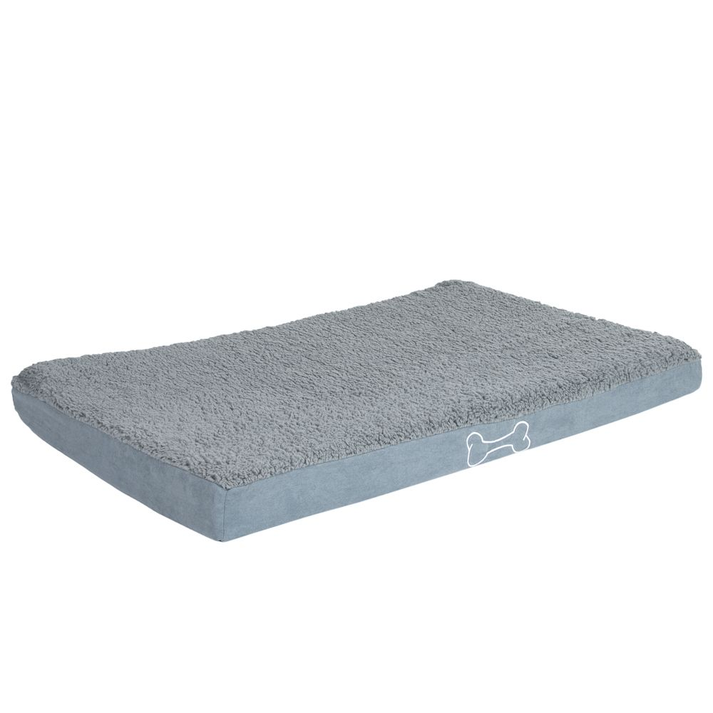 Rectangular Memory Foam Dog Bed - Grey - 73 x 52 x 9 cm (L x W x H)