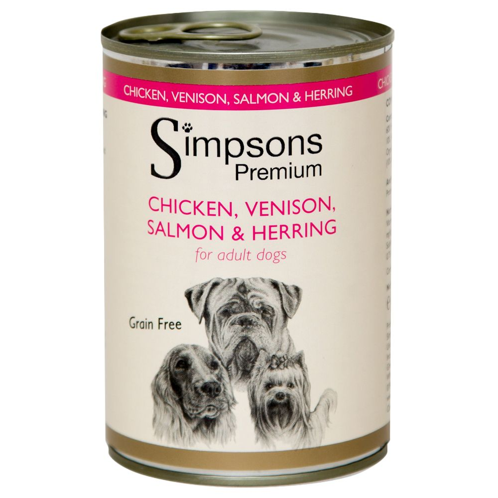 Simpsons Premium Adult Dog - Chicken, Venison, Salmon & Herring - Saver Pack: 12 x 400g