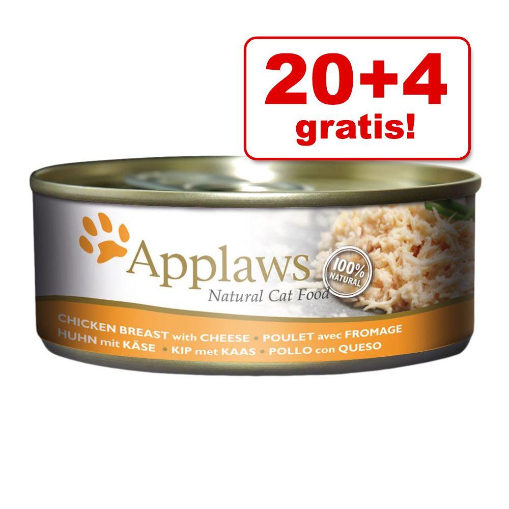 20 + 4 på köpet! 24 x 156 g Applaws kattfoder - Tonfiskfilé & räkor i buljong