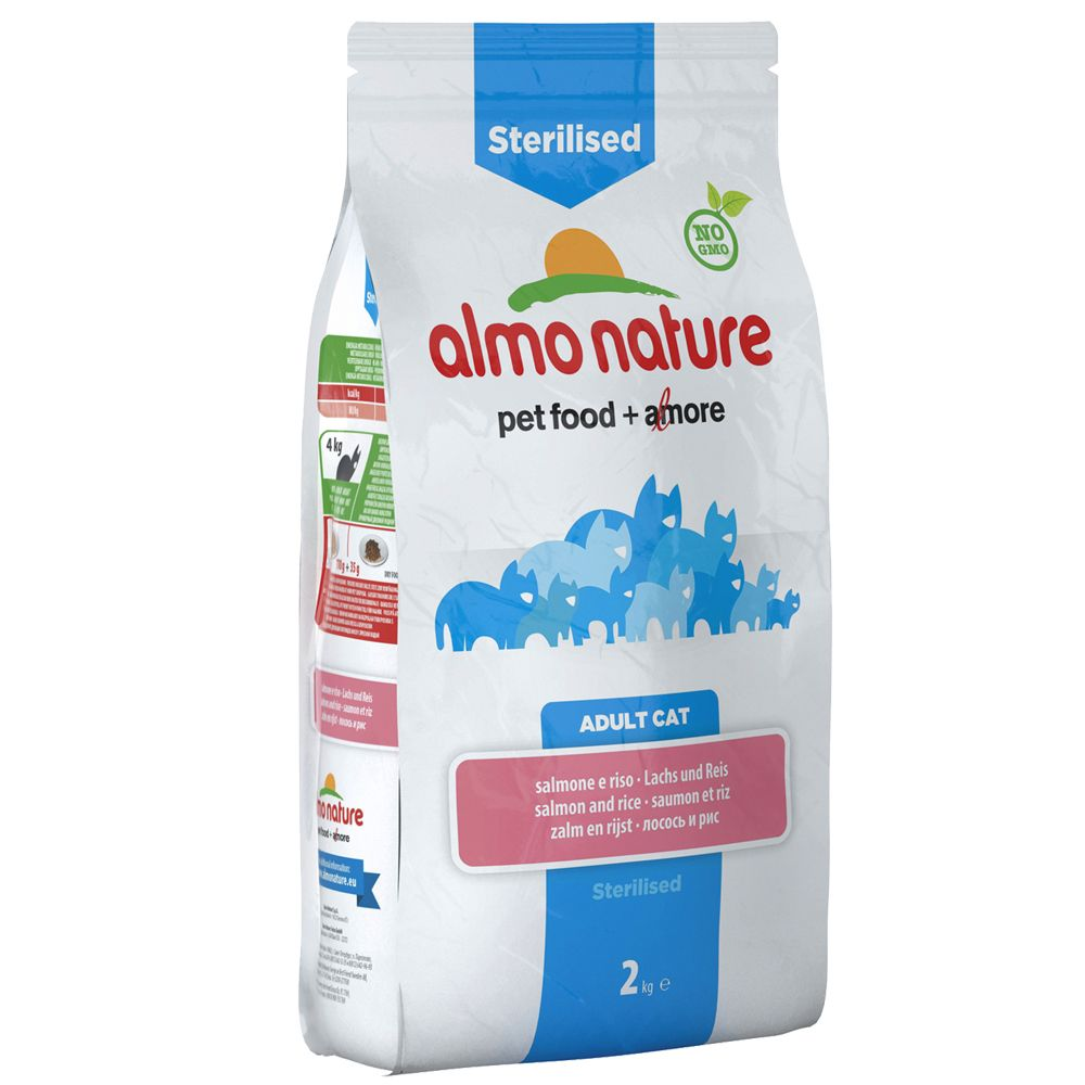Almo Nature Sterilised, łosoś i ryż - 2 x 2 kg