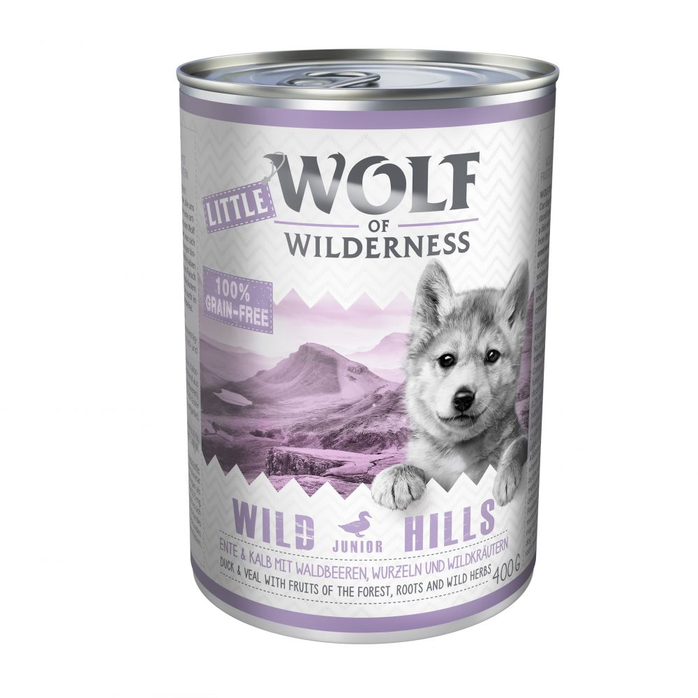 Little Wolf of Wilderness 6 x 400g - Wild Hills Junior - Duck & Veal