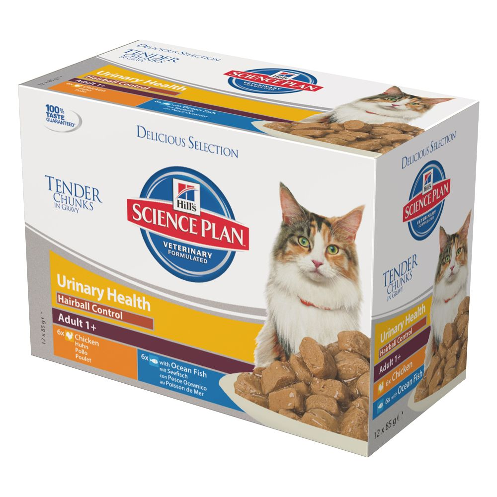 Hill's Science Plan Adult Urinary & Hairball Control Pouches - Saver Pack: 24 x 85g