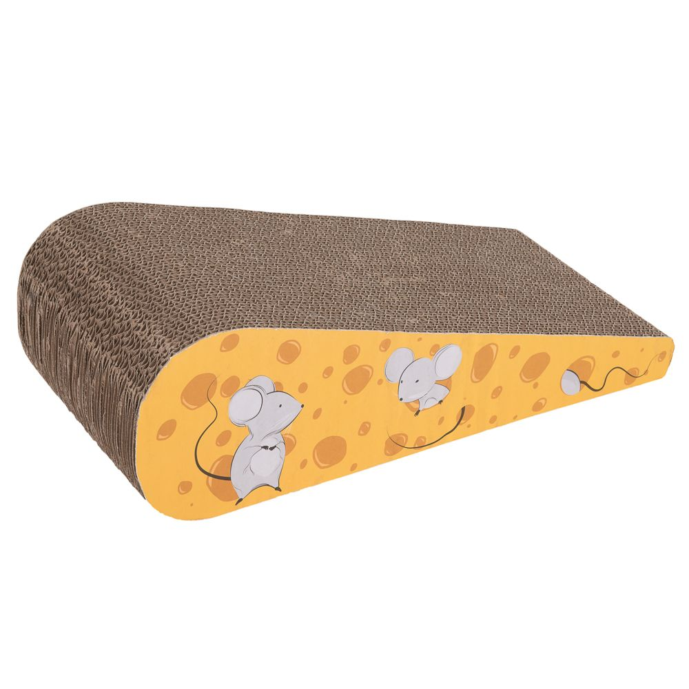 Fun Cardboard Cheese Wedge Scratch Block - 43.5 x 19 x 5-12.5 cm (L x W x H)