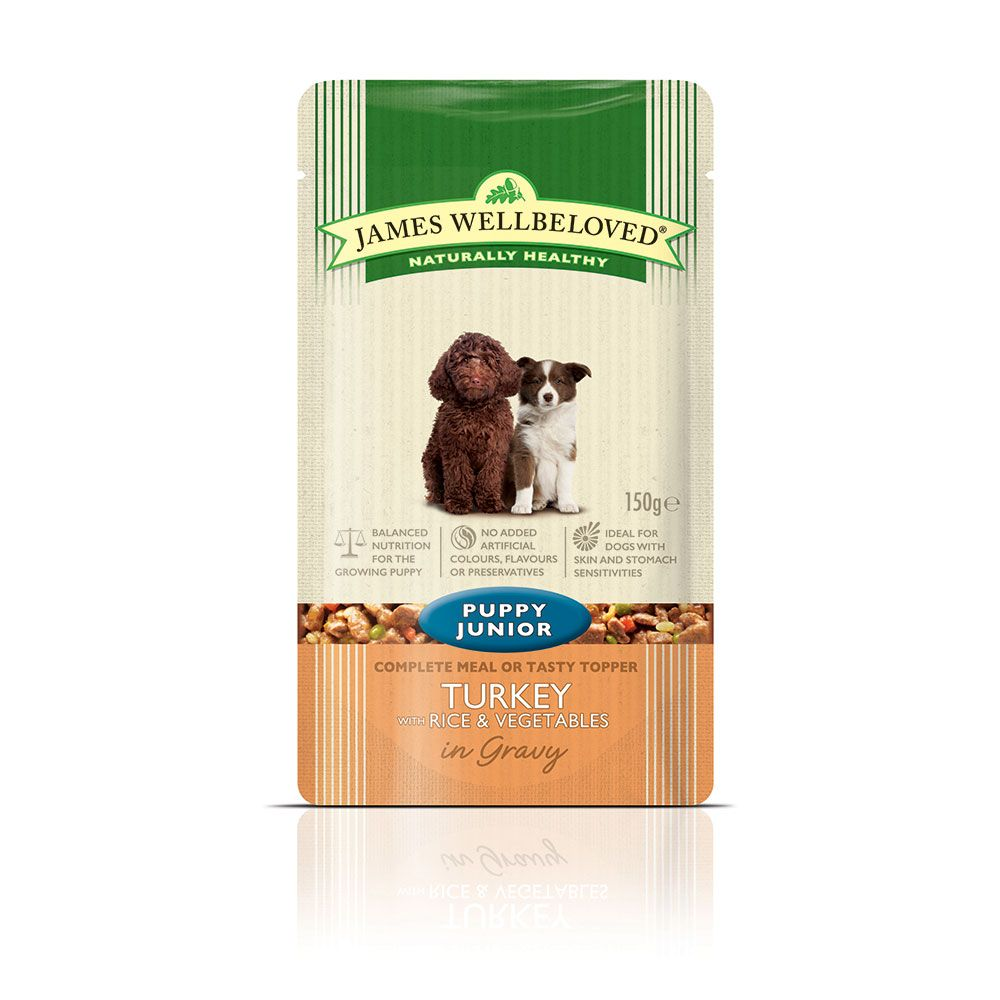 James Wellbeloved Puppy & Junior Pouches - Turkey with Rice - 10 x 150g