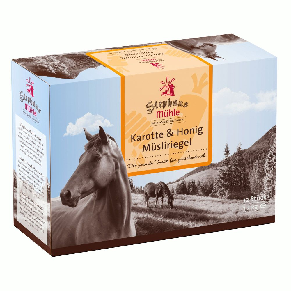 Stephans Mühle Muesli Bars for Horses – Carrot & Honey - 12 x 2 Bars
