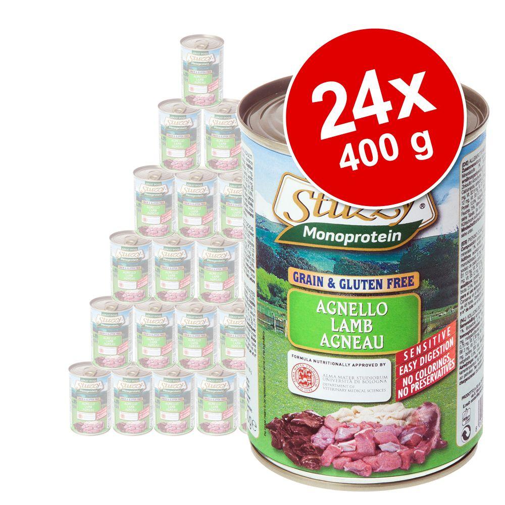 Ekonomipack: Stuzzy Dog Monoprotein 24 x 400 g - Lamm (12 x 400 g) + Kyckling (12 x 400 g)