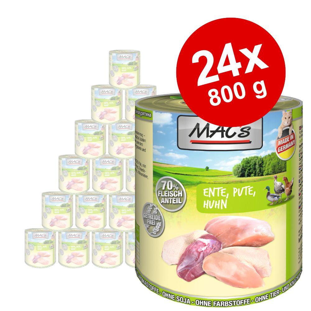 Ekonomipack: MAC's Cat våtfoder 24 x 800 g - Blandpack: Lax & kyckling + Anka, kalkon & kyckling