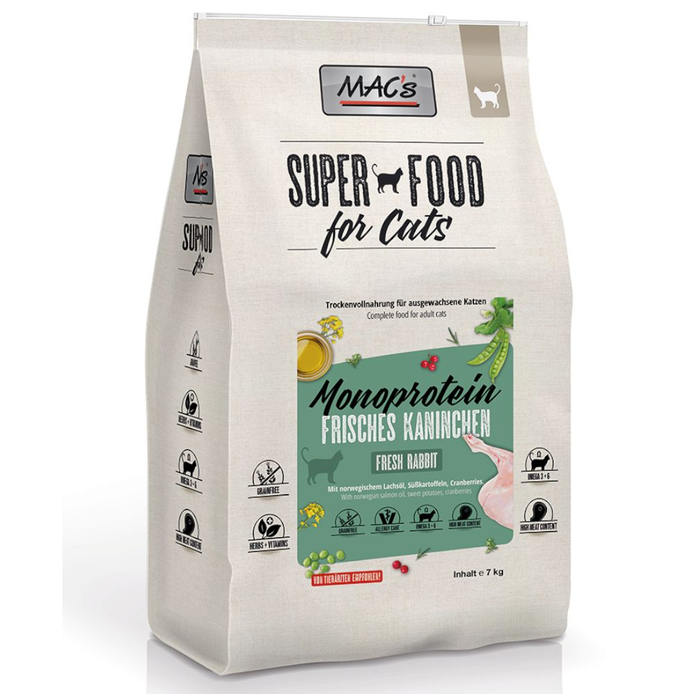 MAC's Superfood for Cats Adult Monoprotein Kanin - Ekonomipack: 2 x 7 kg