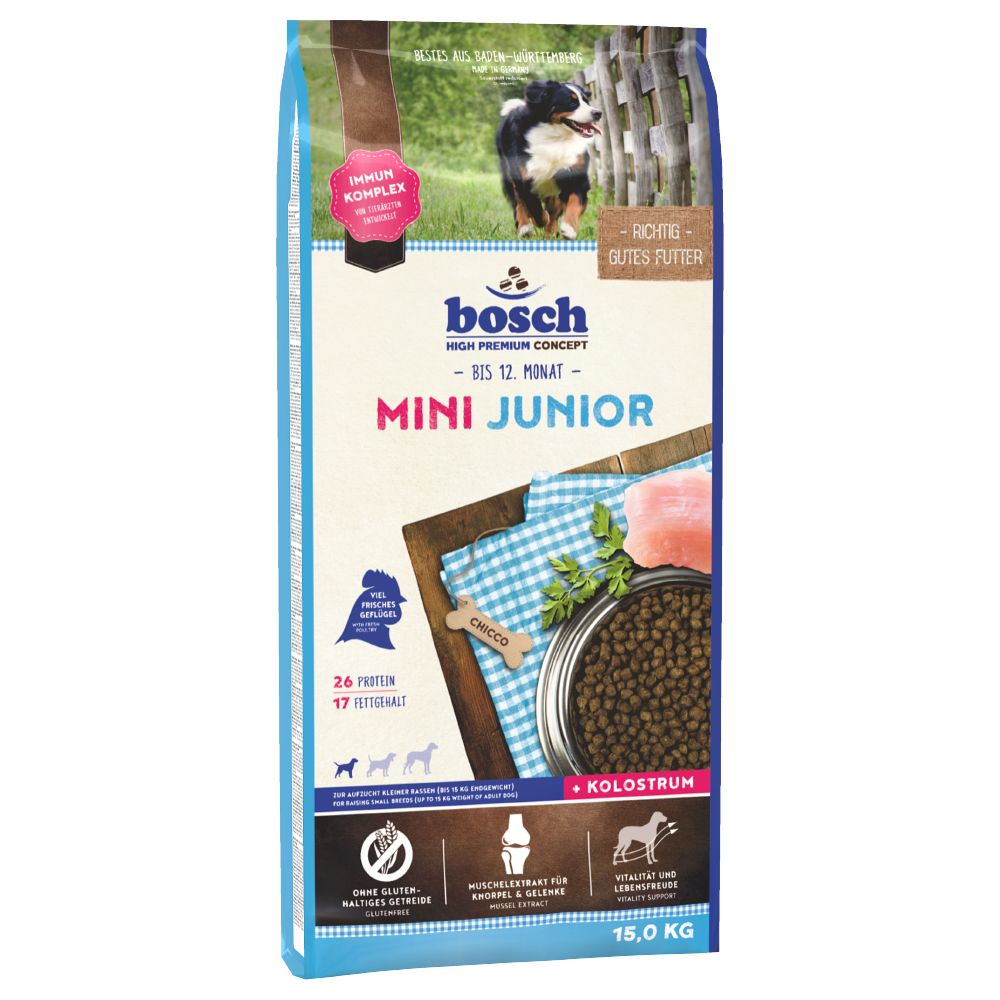 Bosch Mini Junior Dry Dog Food is the perfect gluten-free diet for small-breed puppies with an expected adult weight of up to 15kg. It contains at least 15% fresh ...