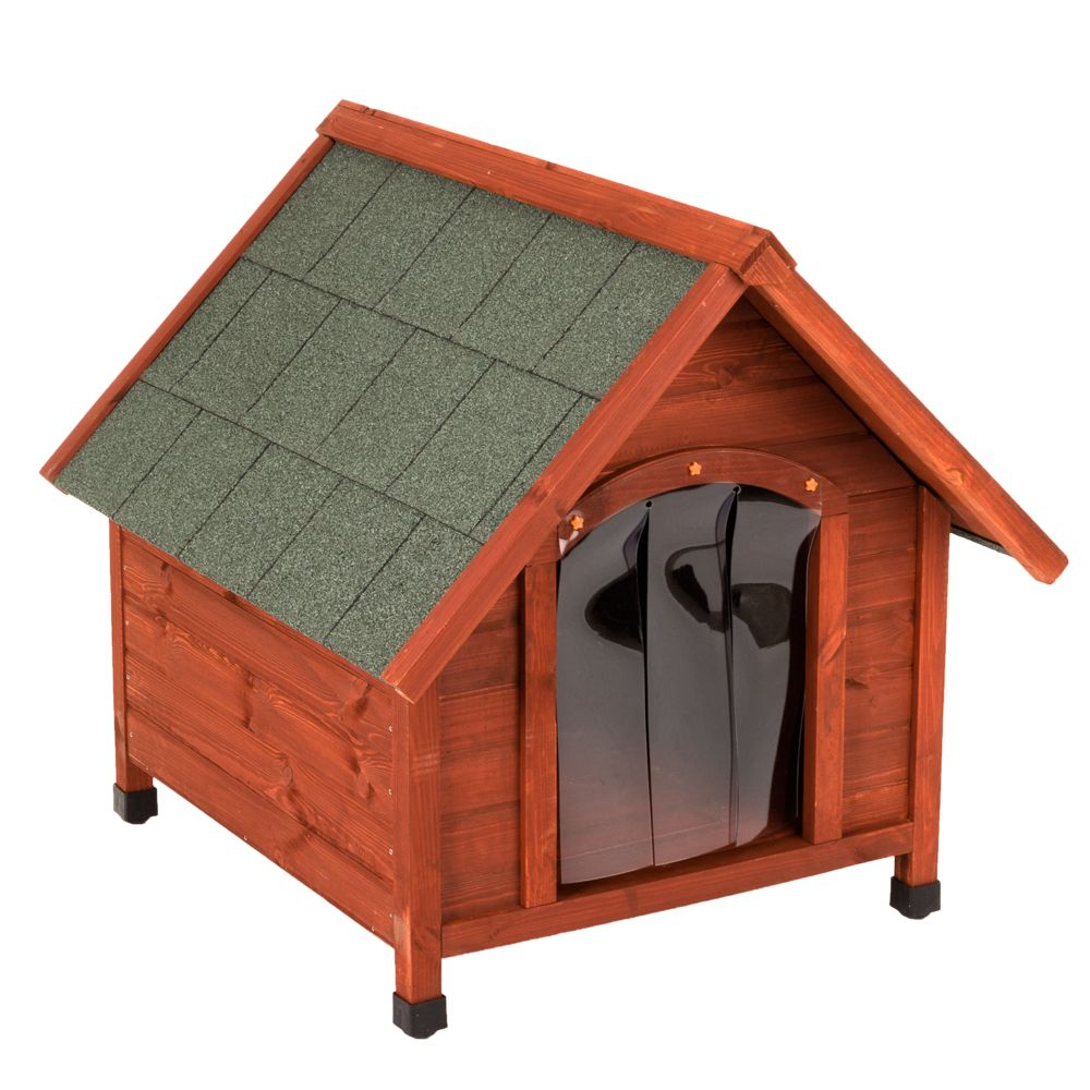 The Spike Comfort Dog Kennel is durable and weatherproof, with plastic door flaps to keep out the cold and wet. It is constructed from pine that has been sourced f...