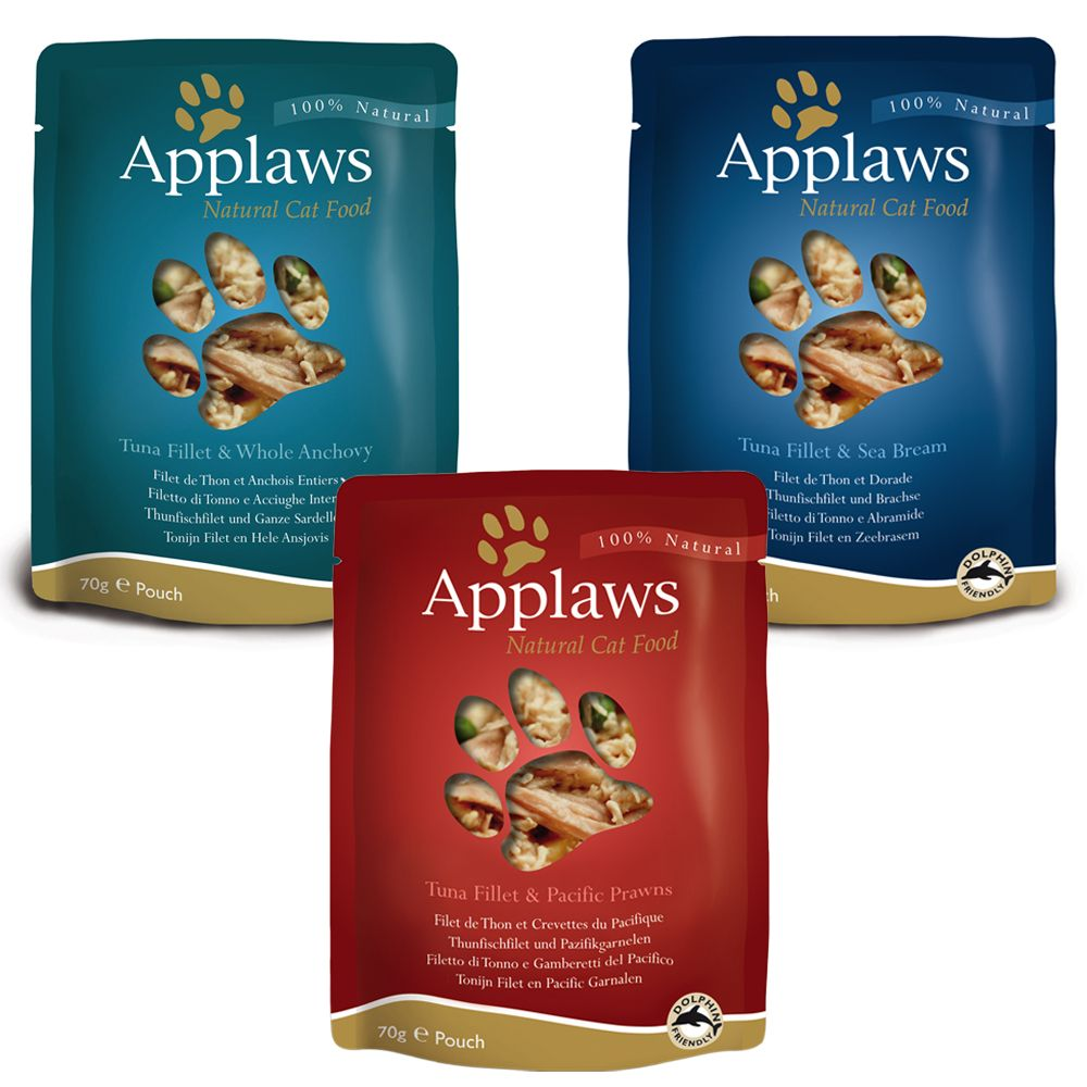 Applaws Pouch mit Brühe Mix 12 x 70 g - Hühnchen Mix (3 Sorten)