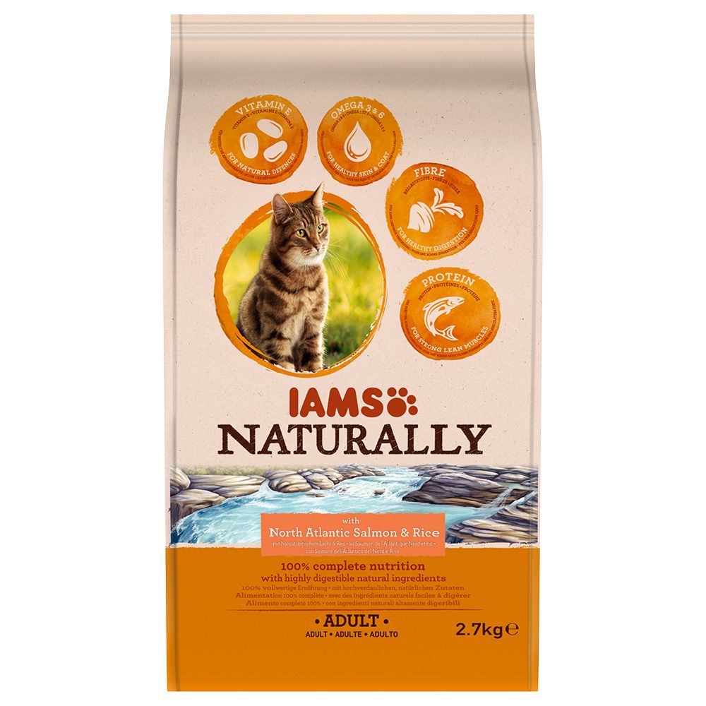 2.7kg Salmon Adult IAMS Naturally Cat Dry Cat Food