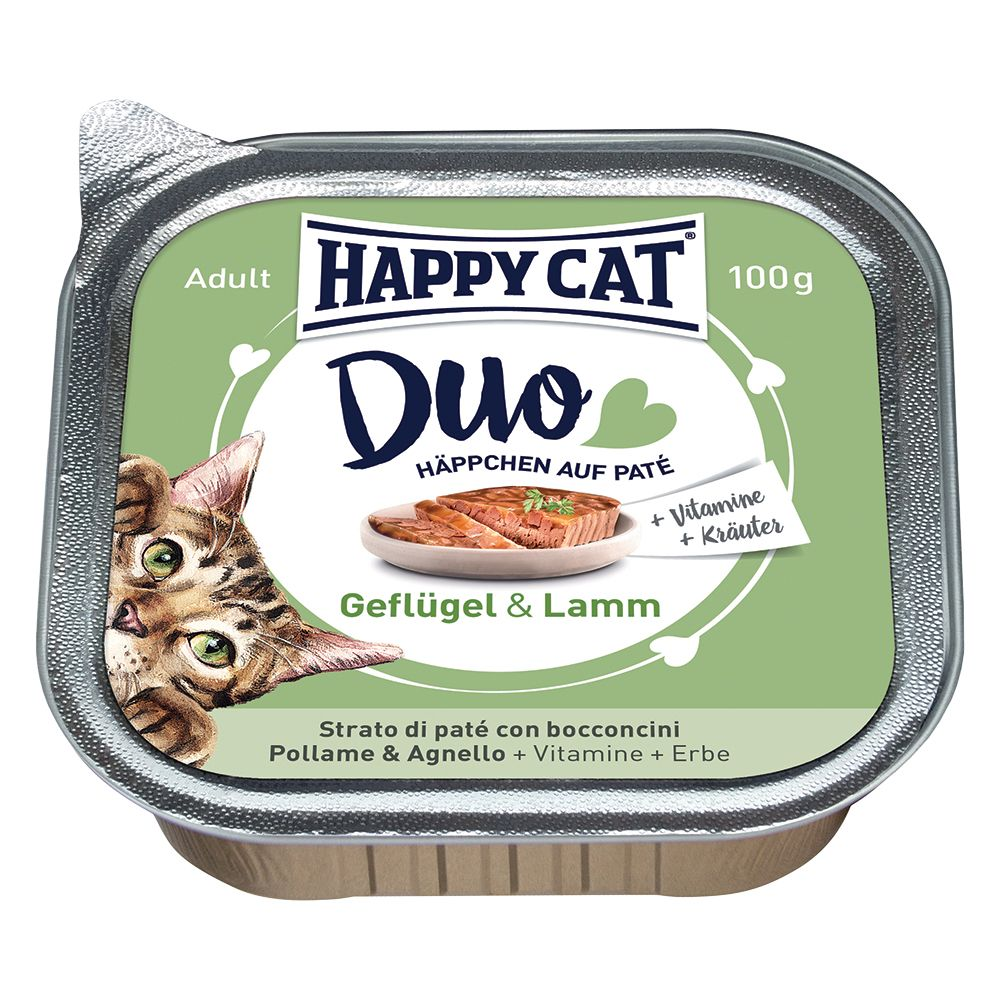 Happy Cat Duo - Bitar med paté 12 x 100 g - Fjäderfä & lax