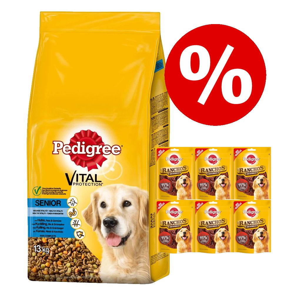 15 kg Pedigree Trockenfutter + Ranchos Original Snacks zum Sonderpreis! - Junior Maxi mit Huhn & Reis (15 kg) + Rind (7 x 70 g)