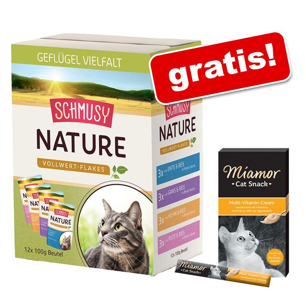 Pakiet Schmusy Nature Vollwert Flakes, 12 x 100 g + Miamor Cat Snack pasta gratis! - Drób, 12 x 100 g