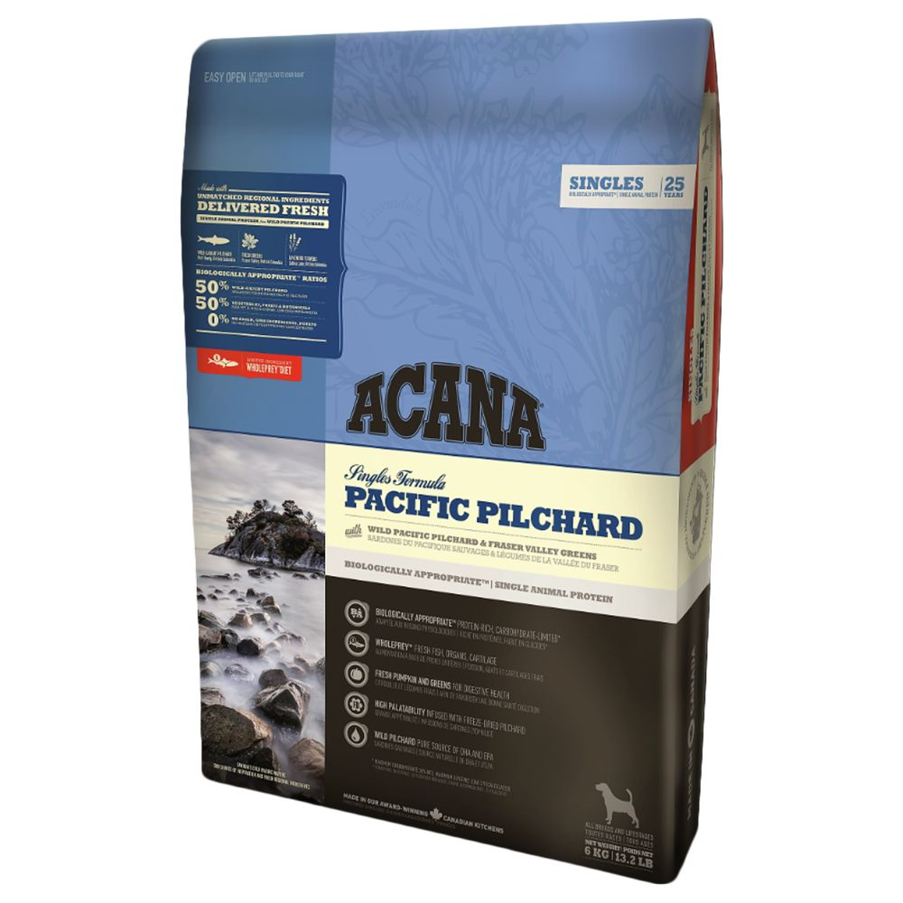 Acana Singles Pacific Pilchard dry dog food contains 50% fish and 50% regional, Canadian fruit and vegetables. Pilchard is the single source of animal protein. Thi...