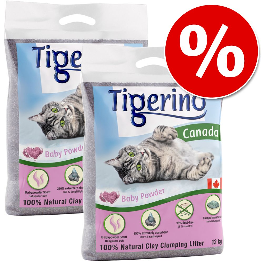 2 x 12 kg Tigerino Canada till sparpris! Blandpack: Sensitive + Babypuderduft