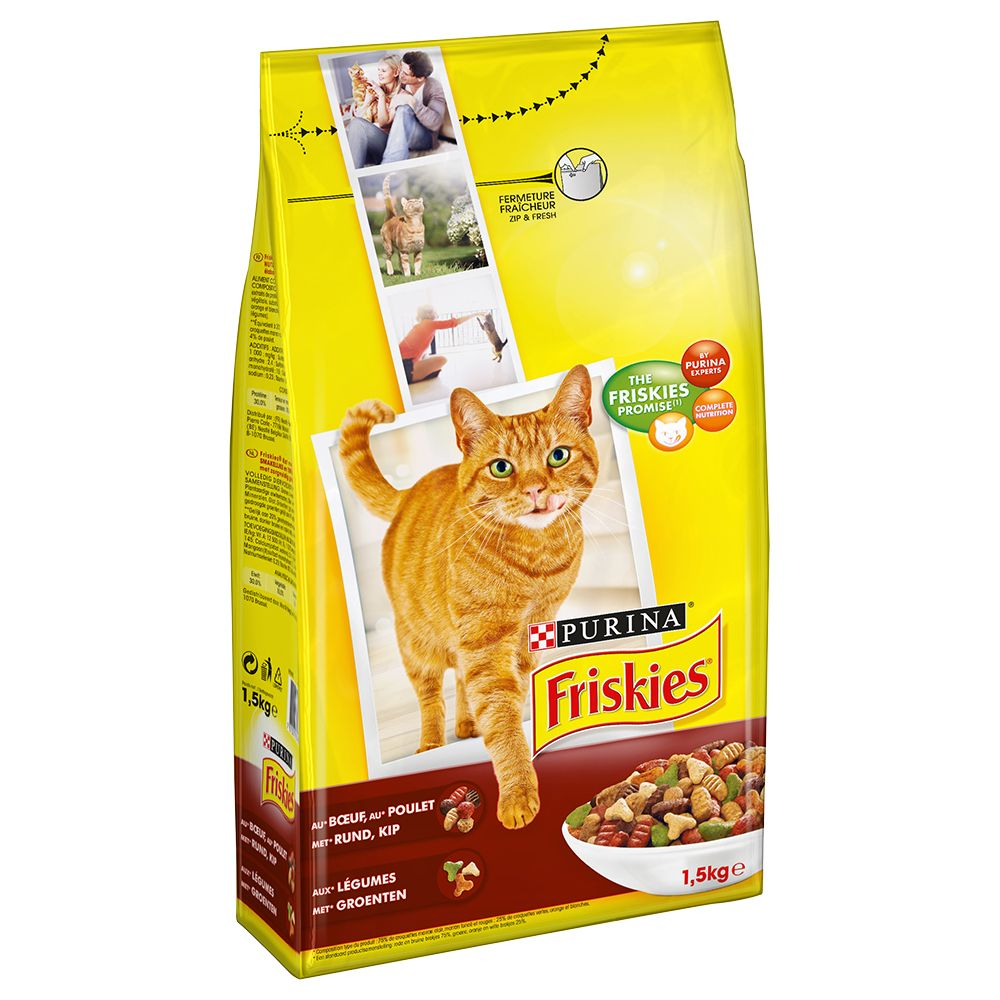 Ekonomipack:3, 4 eller 5 påsar Friskies torrfoder för katt - Salmon and Vegetables (4 x 1,5 kg)