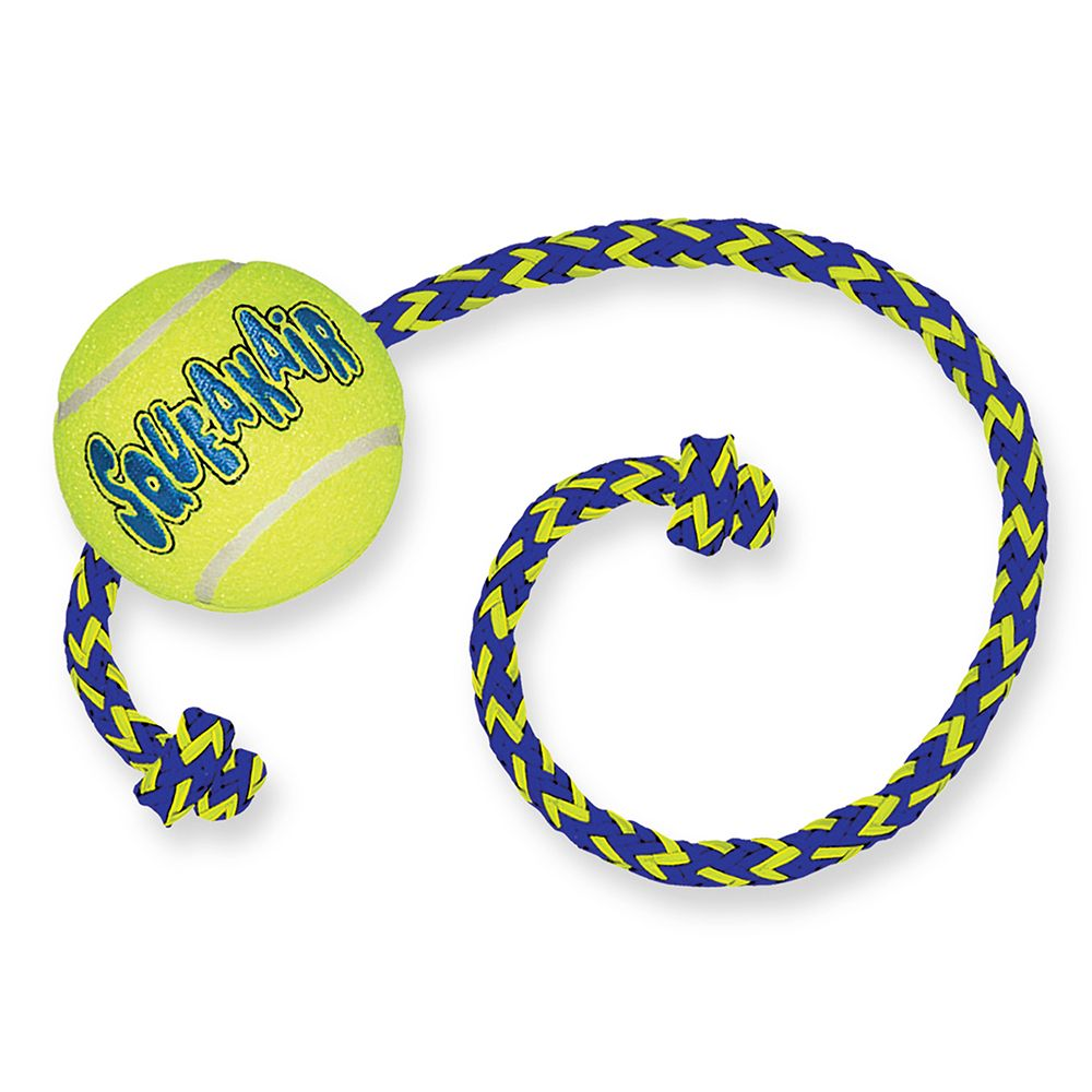 KONG AirDog Squeakair Ball with Rope Medium/Large