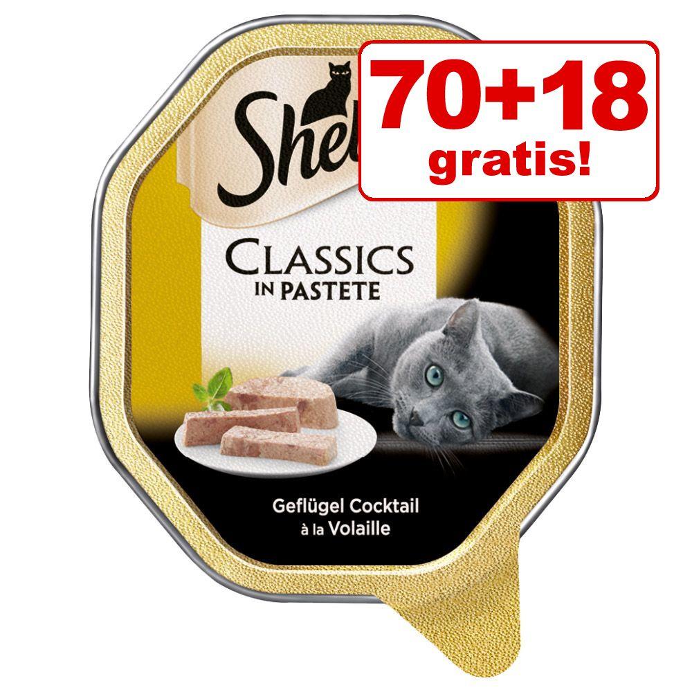 70 + 18 på köpet! 88 x 85 g Sheba våtfoder i portionsform - Craft Collection Paté med fina bitar av nötkött