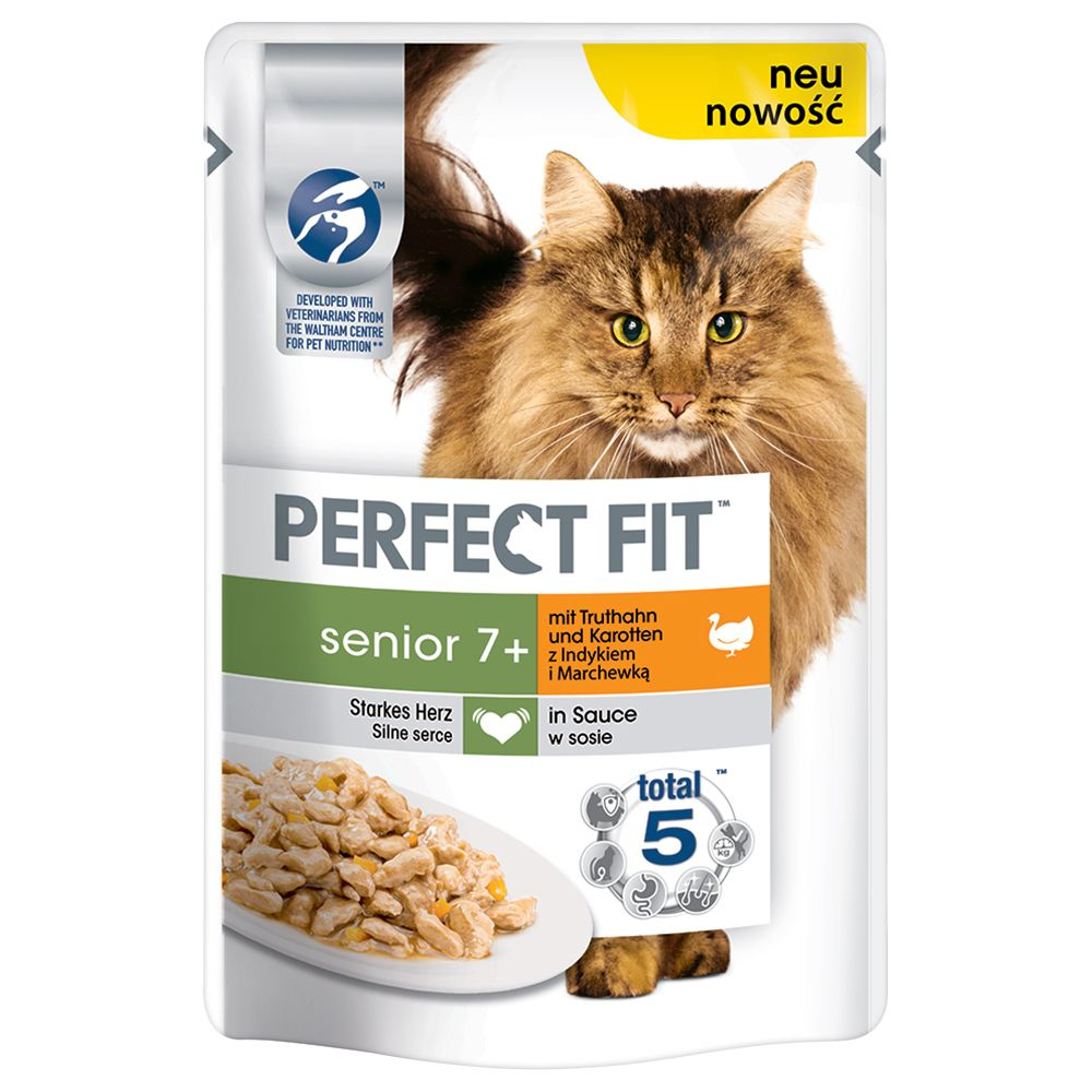 24x85g Turkey & Carrot in Sauce Senior 7+ Pouches Perfect Fit Wet Cat Food