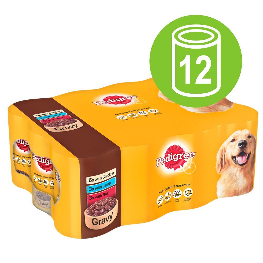 Pedigree Adult Selection Multipack 12 x 400 g – Meat Selection in Gravy (Huhn Lamm Nötkött)