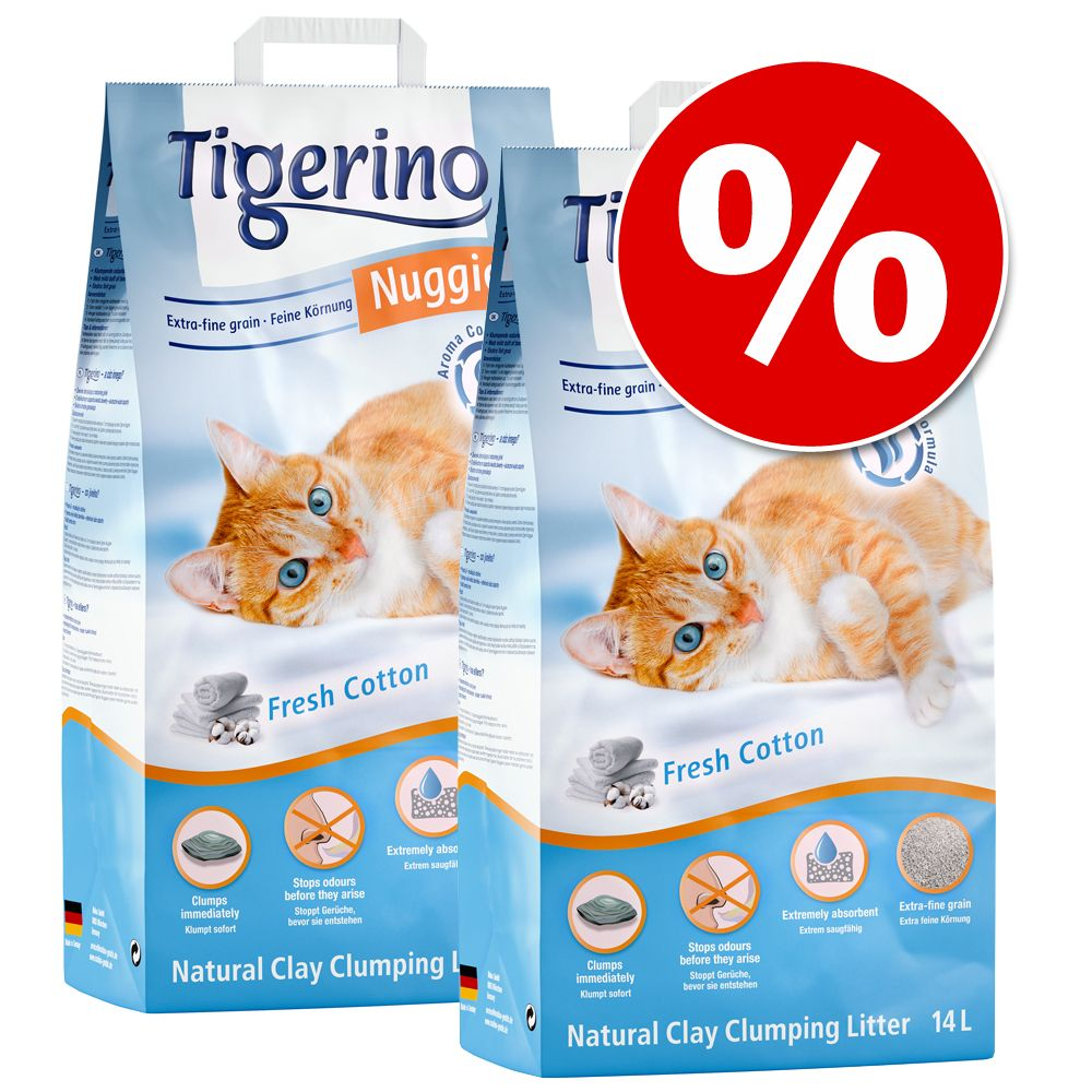 2 x 14 l Tigerino Nuggies zum Sonderpreis! - Ultra Babypuderduft 14 l